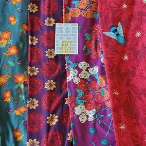 4 Lularoe OS Leggings Floral Print Lot NWT